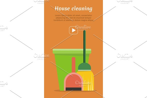 Web Banner Bucket Duster Broom And Dustpan Icon