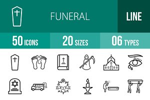 50 Funeral Line Icons