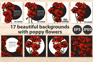 Red poppy beautiful banners