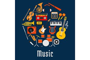Music round symbol with musical instruments