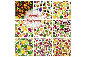 Fruits vector seamless patterns set