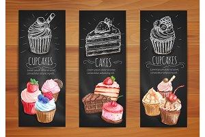 Cake, cupcake, fruit dessert menu posters design