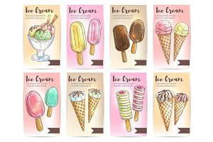 Ice cream menu card template