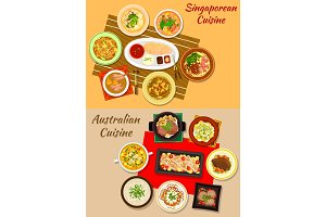 Singaporean and australian cuisine dishes icon