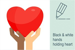 Black & white hands holding heart
