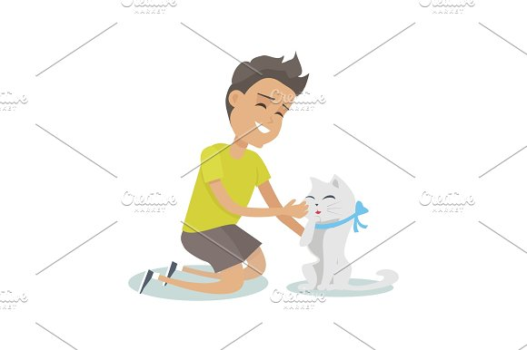 Playing With Pet Illustration In Flat Design