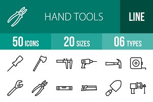 50 Hand Tools Line Icons