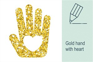 Gold hand with heart