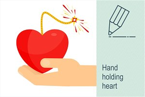 Hand holding bomb heart