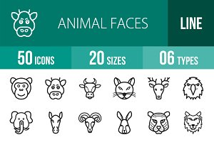 50 Animal Faces Line Icons