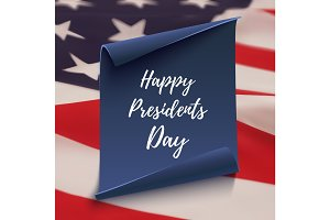 Happy Presidents Day background on blue curved paper banner.
