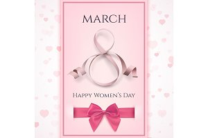 March 8 greeting card template. International Womens day background.