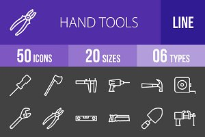 50 Hand Tools Line Inverted Icons