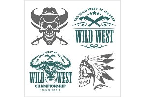 Set of vintage cowboy emblems, labels, badges, logos and designed elements. Wild West theme.