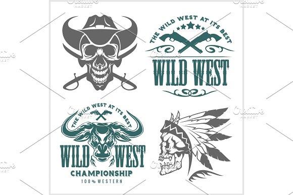 Set of vintage cowboy emblems, labels, badges, logos and designed elements. Wild West theme.