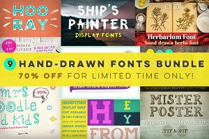 [-70%] 9 Hand-drawn Fonts Bundle