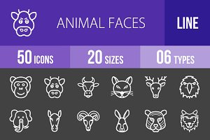 50 Animal Faces Line Inverted Icons