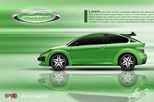 Vector green model car 2 seats sedan