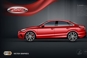 Vector Red 2 seats sedan car mockup