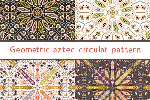Circular set of aztec patterns