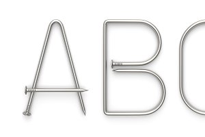 Alphabet made from metal nail