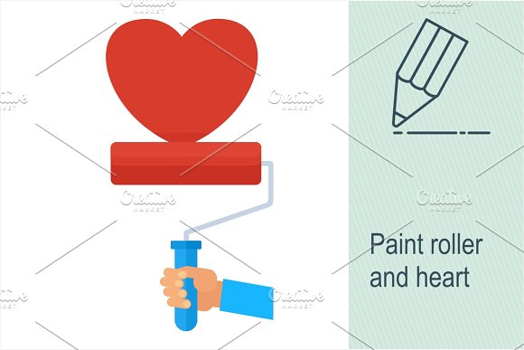 Paint roller and heart