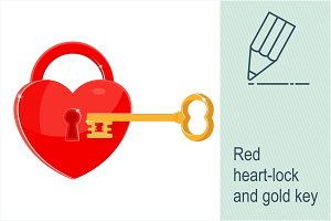 Heart as a lock with key.