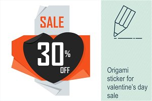 Origami Valentine's day sale sticker