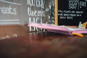 Blackboard with handwriting in cafe