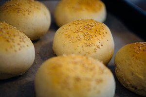 Tasty buns with sesame
