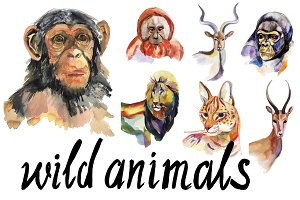 Watercolor wild animals set.