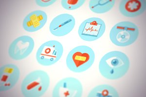 Flat Medical Icons Vector Set