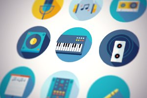 Music Icons Flat Set