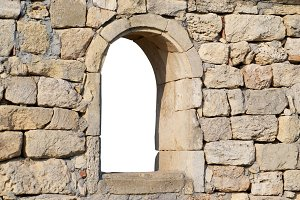 Window in the ancient stone