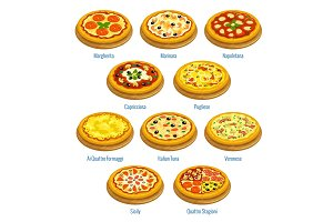 Pizza icons. Italian cuisine menu elements