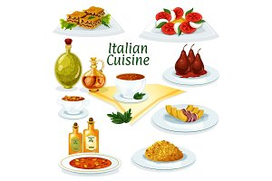 Italian cuisine cartoon icon for restaurant design