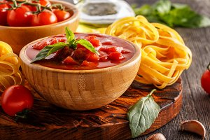 Products for cooking - tomato sauce, pasta, tomatoes, garlic, ol