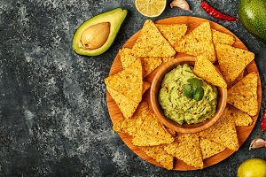 Homemade guacamole with nachos.