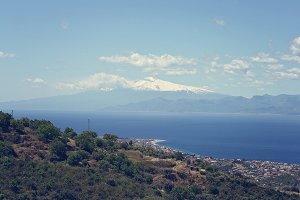 Volcano Etna covered in snow