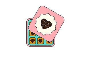 Chocolate sweets box. vector icon