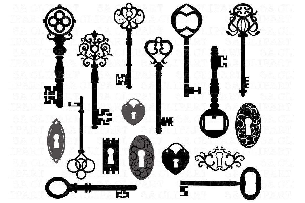 Keys Silhouette ClipArt ~ Illustrations ~ Creative Market