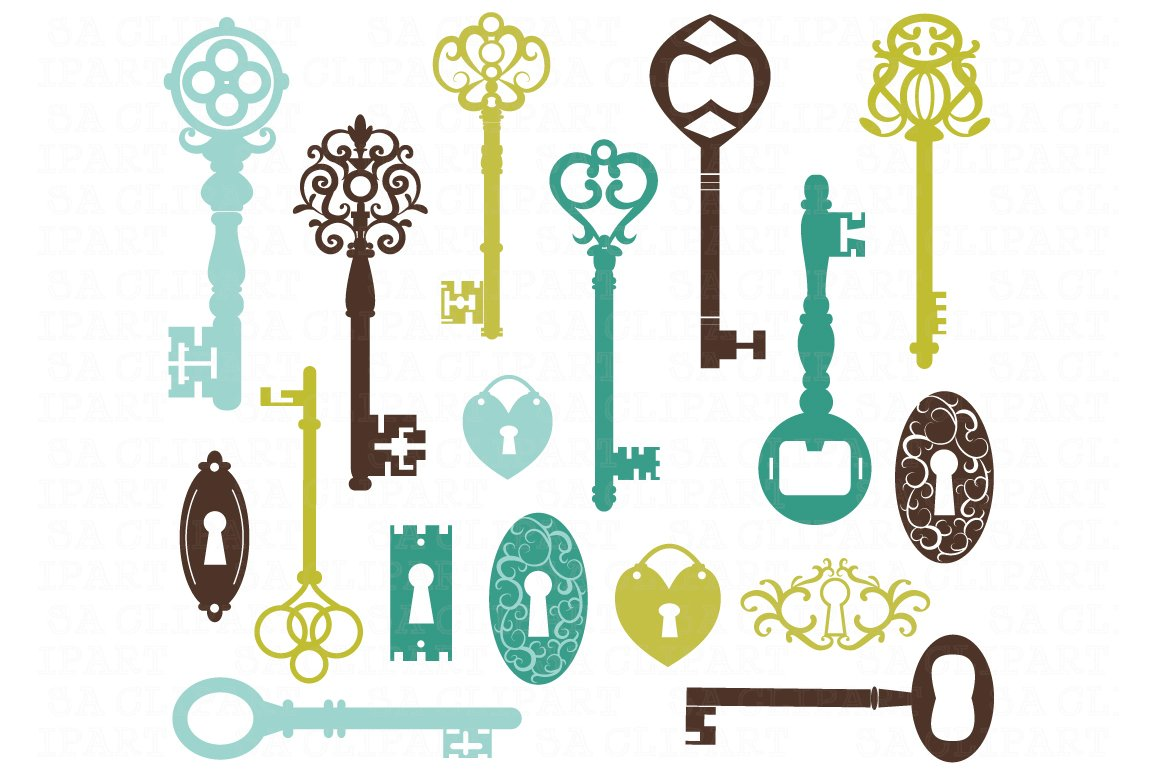 Vintage Keys Silhouette ClipArt ~ Illustrations ~ Creative ...