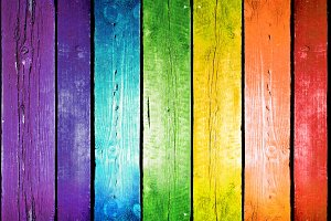 Planks in the colors of the rainbow.