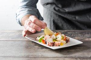 Chef preparing seafood ceviche