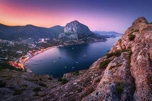 Night colorful mountain landscape