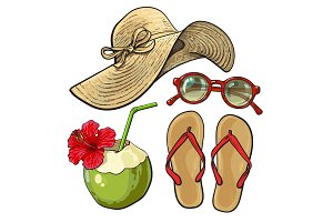 Summer time vacation attributes - hat, sunglasses, flip flops, coconut