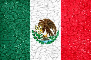 Grunge Style Mexican National Flag