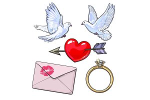 Wedding, engagement icon set with doves, heart, ring, love letter