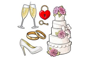 Wedding icons - cake, rings, glasses of champagne and lock
