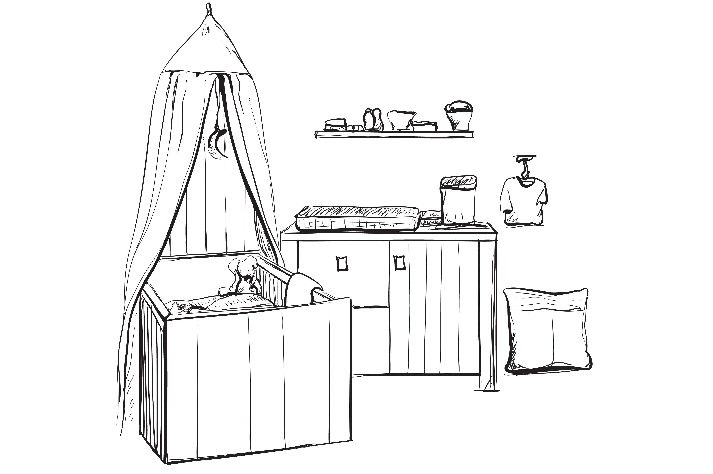 Child room interior sketch ~ Illustrations ~ Creative Market